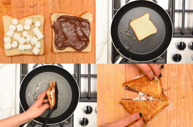 Тосты с шоколадной пастой и маршмеллоу