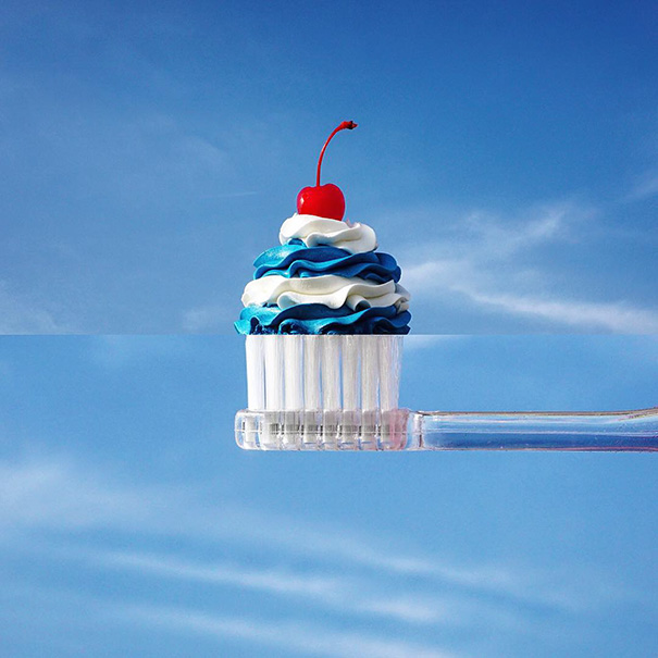 Зубная щётка и капкейк