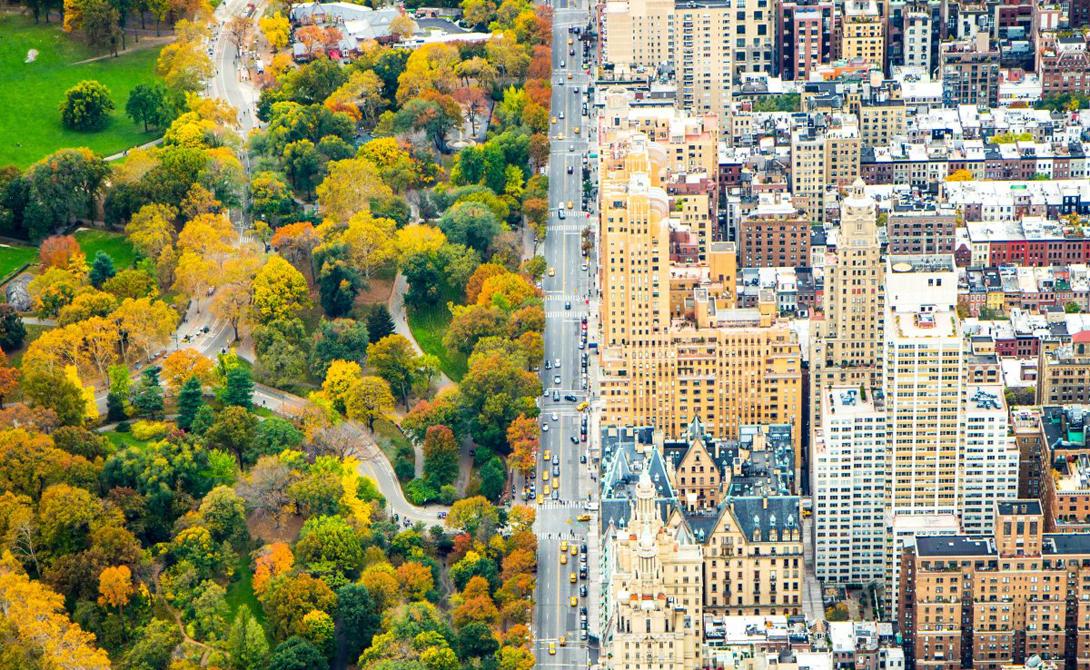 Каноничное разделение природы и мегаполиса привлекает многих фотографов. На снимке — Центральный Парк и Манхеттен.