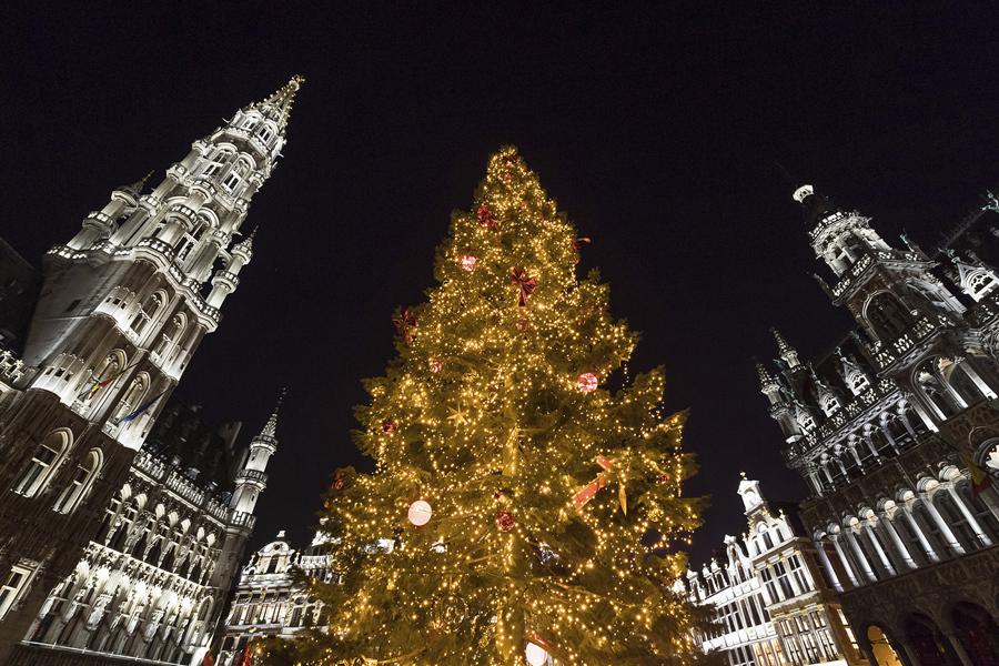 Световое шоу и елка украшают площадь Гран - Плас в Брюсселе, 9 декабря 2016 года.