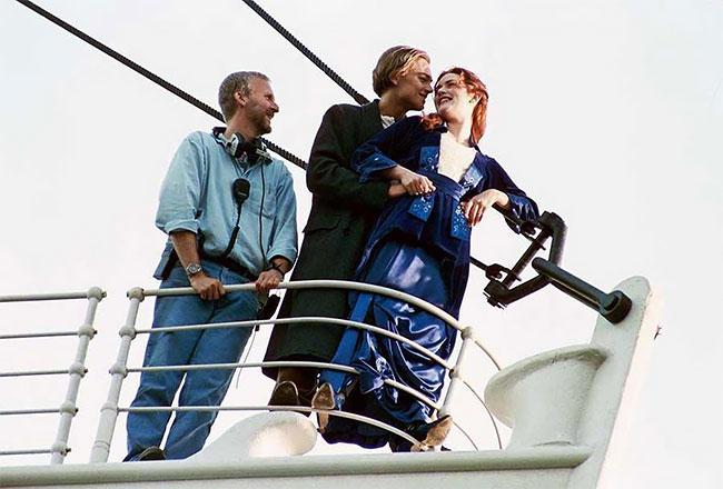 Джеймс Кэмерон, Леонардо Дикаприо и Кейт Уинслет на съемках Титаника