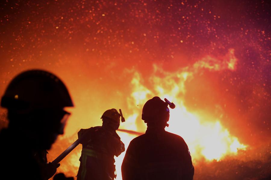 Пожарный расчет пытаются загасить пламя в районе острова Корсика, заповедник Бигулья, Франция, 25 июля, 2017.