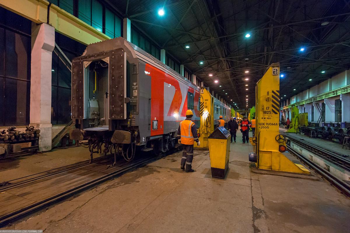 Смена тележки вагона на российскую колею в Бресте