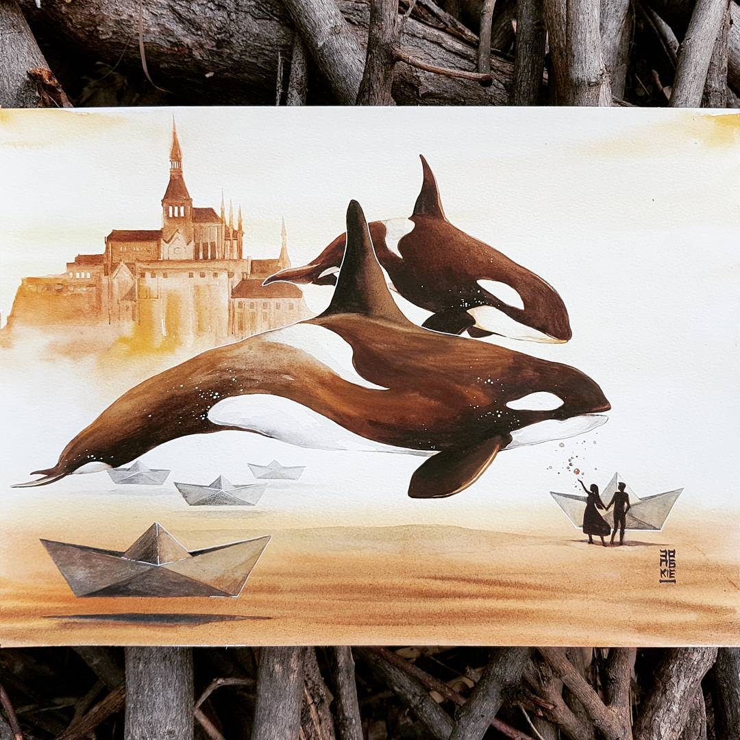 Красивые иллюстрации животных акварелью Лукмана Реза