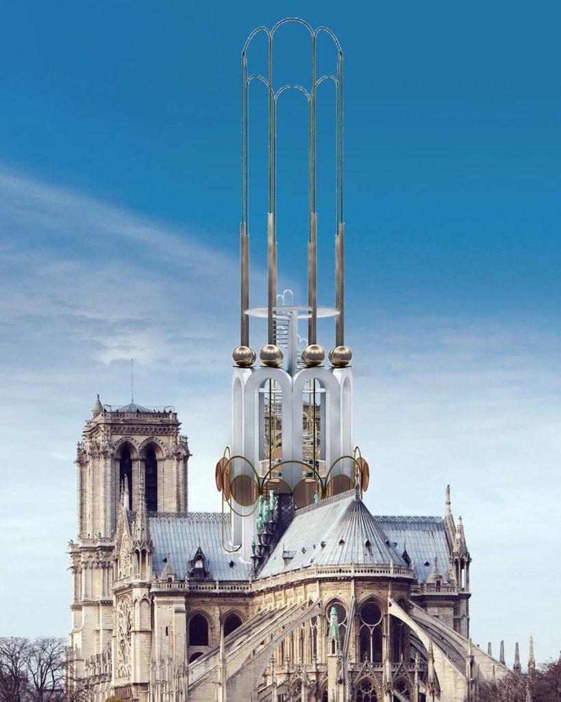 Концепции показывающие, как шпиль Нотр-Дама мог бы выглядеть после реконструкции