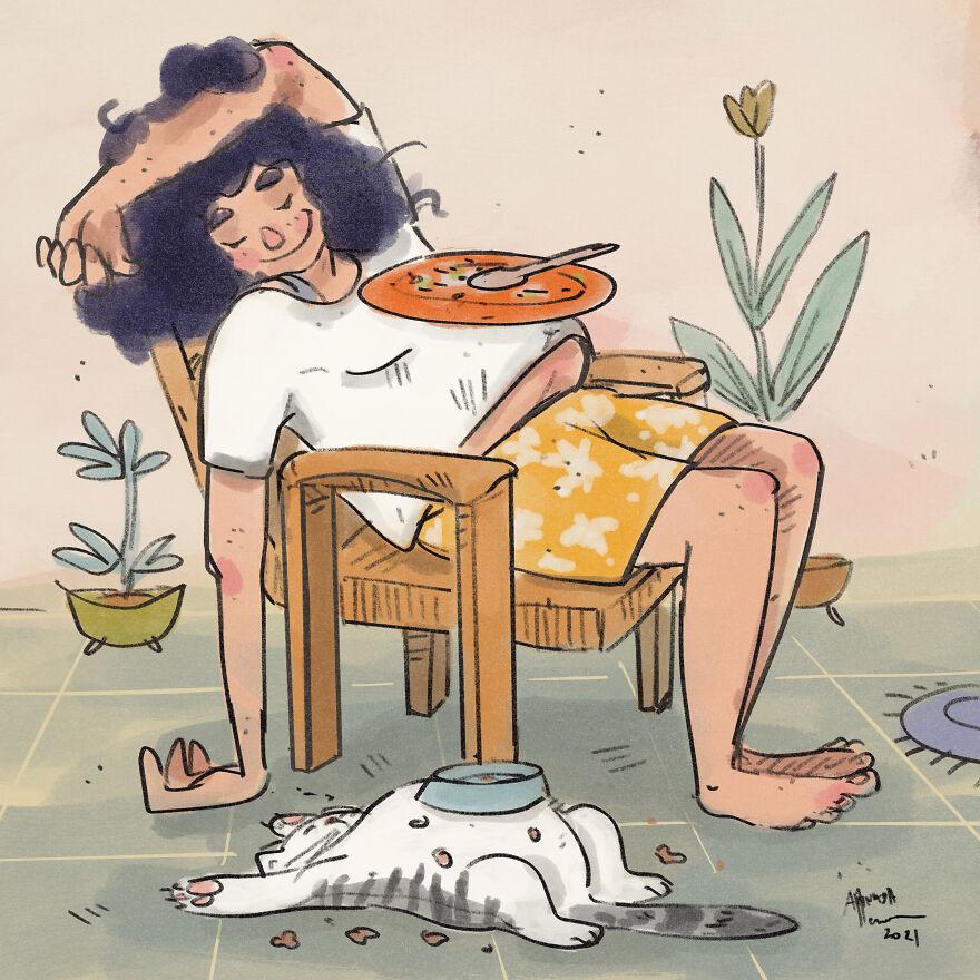 Карантинная жизнь с кошкой на милой иллюстрации Аннады Менон