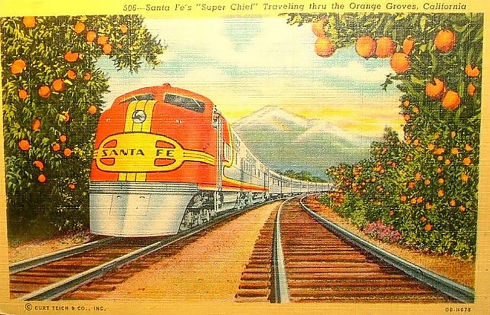 Давным давно вы могли проехать на поезде прямо через апельсиновые рощи в Южной Калифорнии