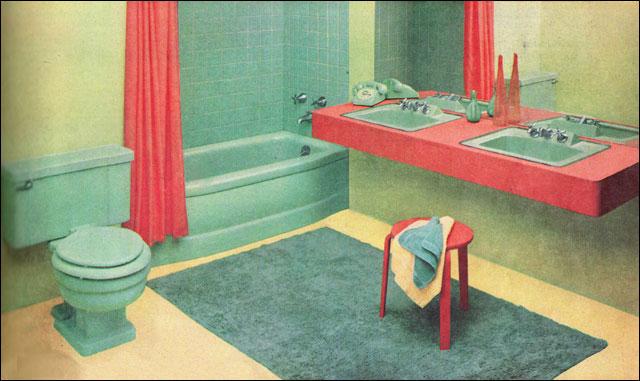 Галерея из 20 дизайнов ванной комнаты в Америке 1950 годов