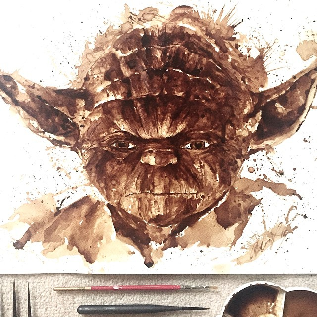 Рисунки любимых персонажей с помощью кофе