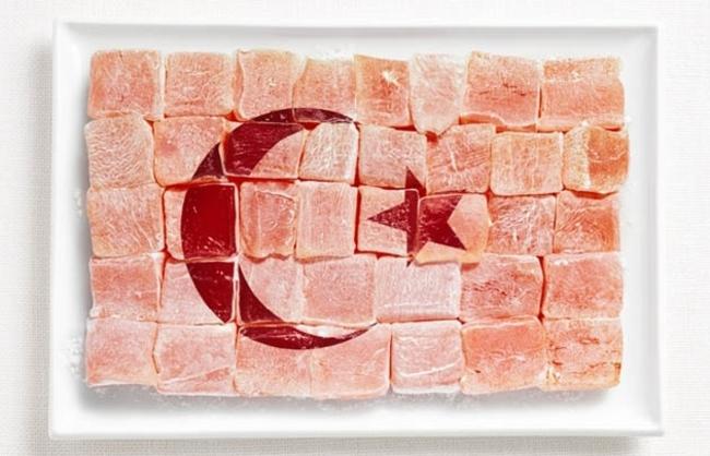 Национальные флаги стран из продуктов питания