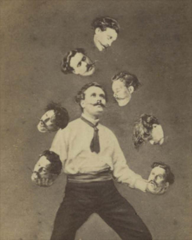 Мужчина жонглирует собственной головой, Калифорния, 1880 г.