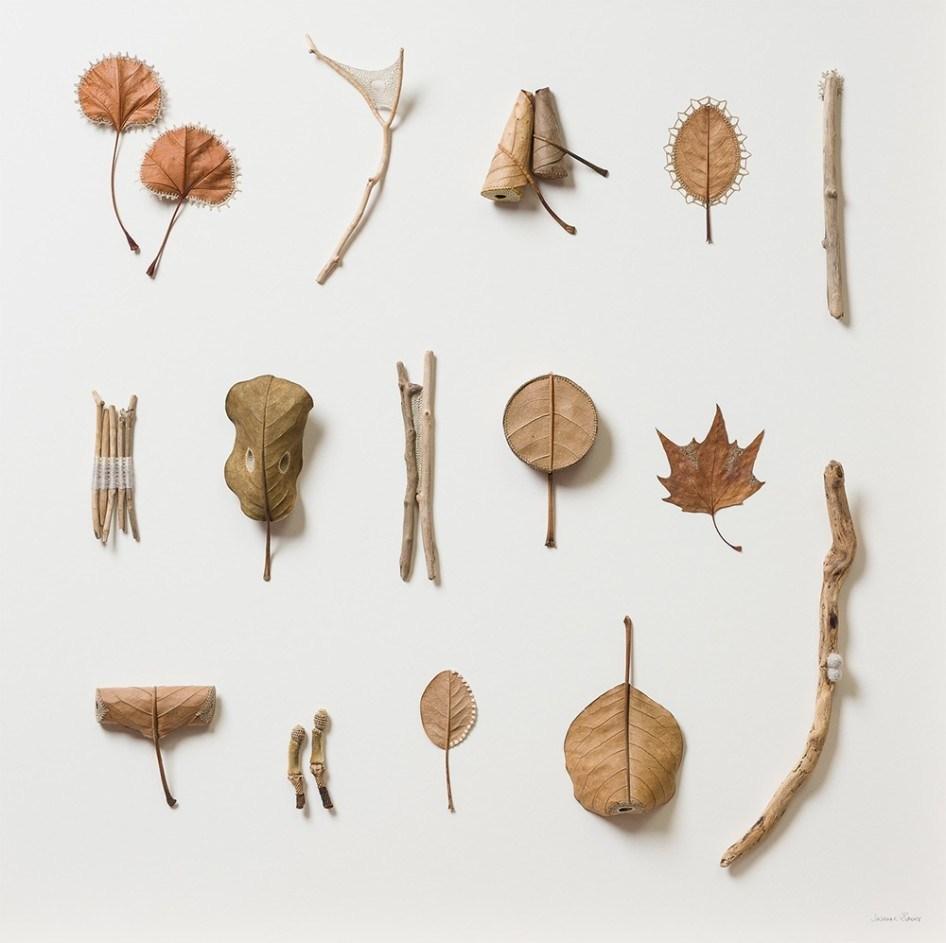 Скульптуры из связанных сушеных листьев