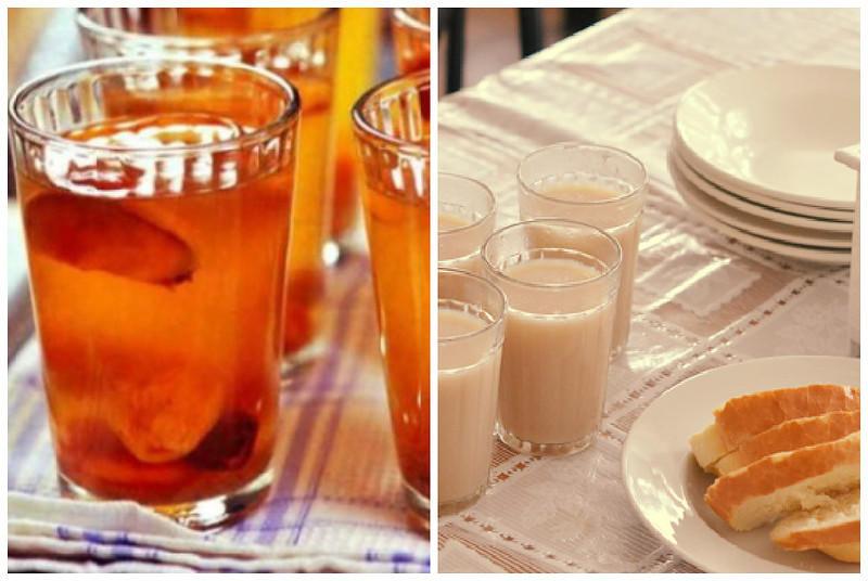 Компот из сухофруктов и кофейный напиток