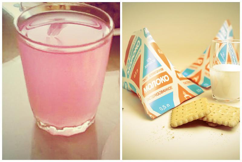 Кисель и молоко в треугольничках
