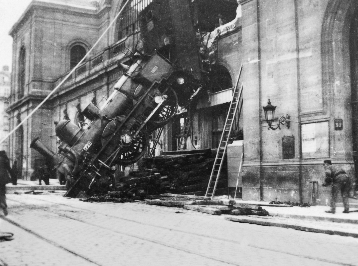 Accident at Montparnasse, Paris, 1895.