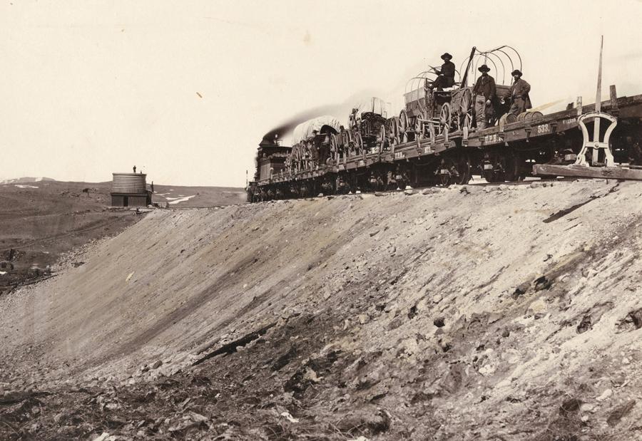 Train on embankment, Granite Canon