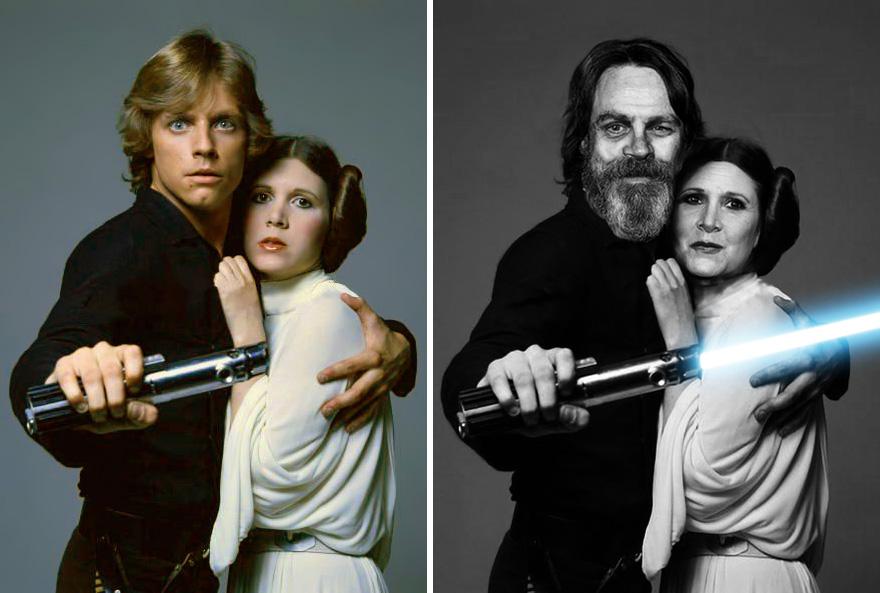 Марк Хэмилл и Кэрри Фишер, (Люк Скайуокер и Принцесса Лея), 1977 г. и 2015 г.