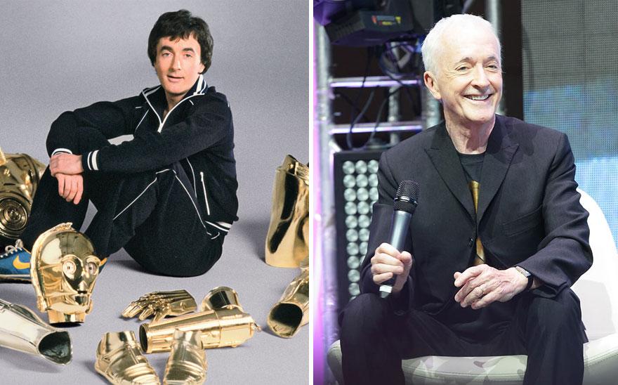 Энтони Дэниелс (С-3ро), 1977 г. и 2015 г.