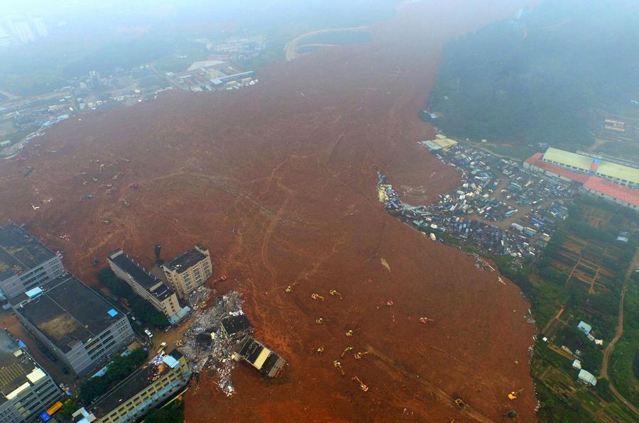 Аэрофотоснимок на месте оползня в Шэньчжэнь, Китай, 21 декабря, 2015.