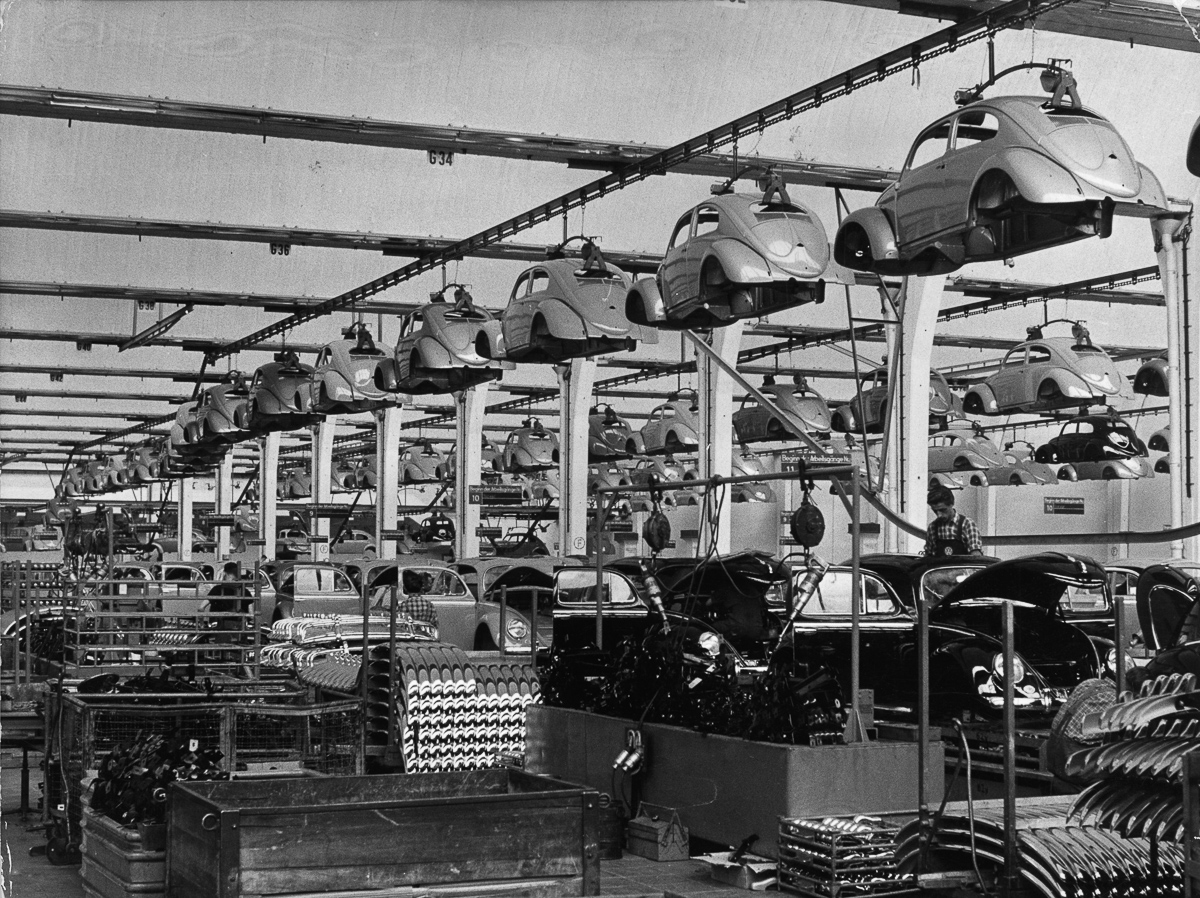 circa 1955: Production of the Volkswagen car, 'The Beetle'. (Photo by Keystone/Getty Images)