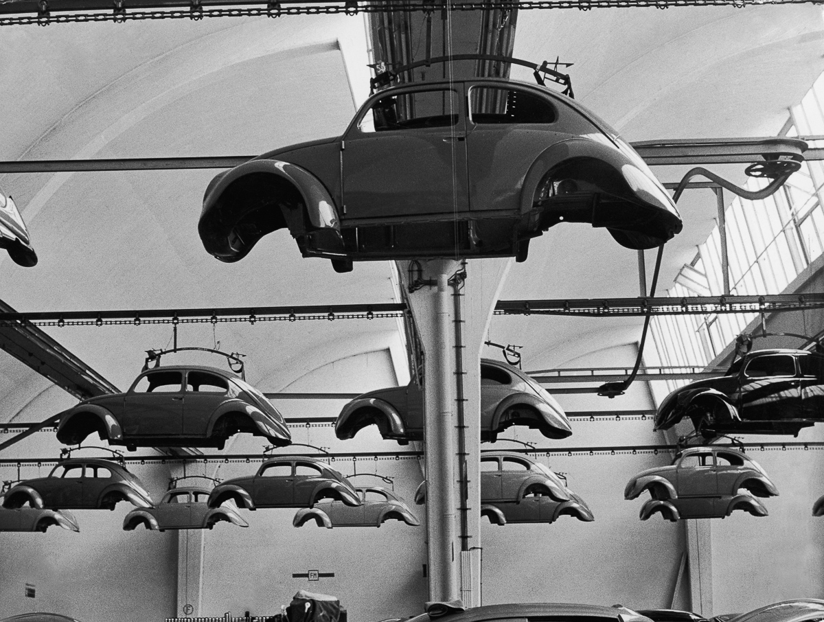 Volkswagen Beetle cars in production. (Photo by Keystone/Getty Images)