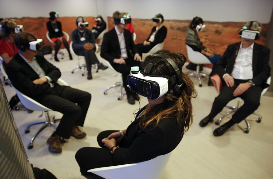 Виртуальная реальность, событие на ежегодном заседании Всемирного экономического форума (ВЭФ) в Давосе, Швейцария, 21 января 2016.
