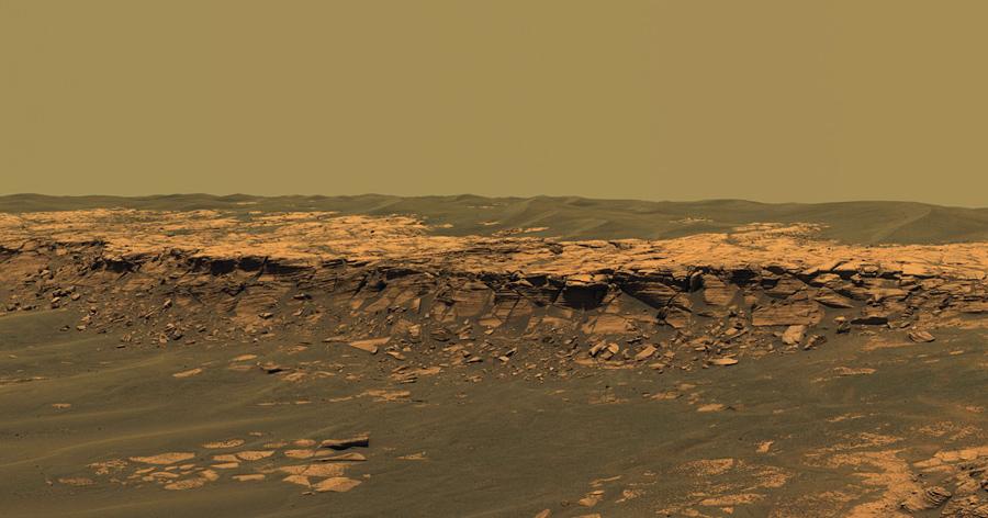 """Панорамная камера на борту сфотографировала панораму """"Пэйсон"""" на западном краю кратера Эребус , февраль 26, 2006 года."""