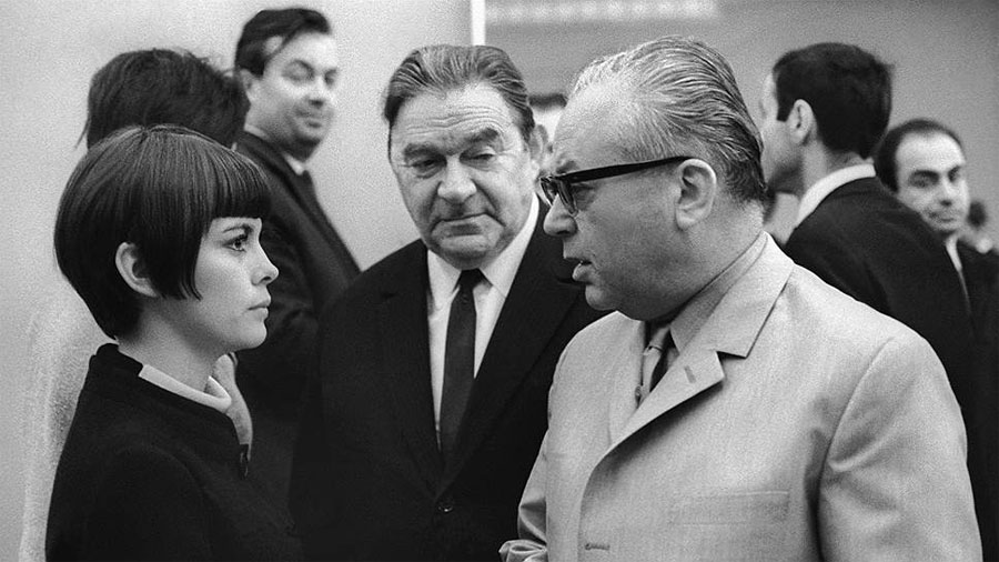 Мирей Матье, Леонид Утесов и Никита Богословский, 1967 год.
