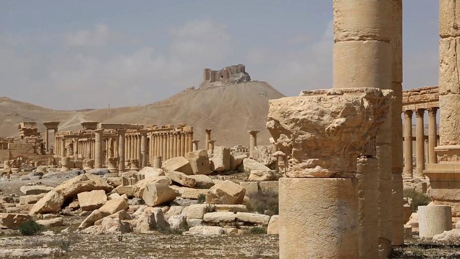 Общий вид руин древнего города Пальмира, центральной Сирии.