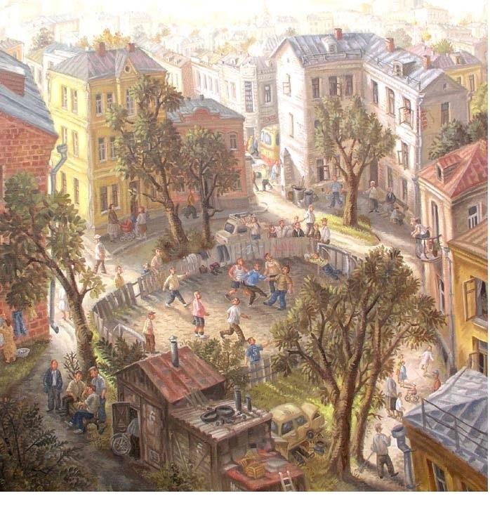 Московский дворик. 90x90см. Холст-масло. 1989