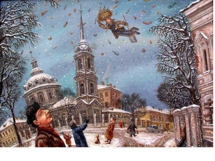 Наблюдение НЛО на Гороховом поле. 35x50см. Холст-масло. 1991