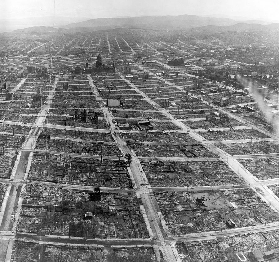 Панорама разрушенного Сан-Франциско, вид с дирижабля Лоуренс, 29 мая 1906 года.