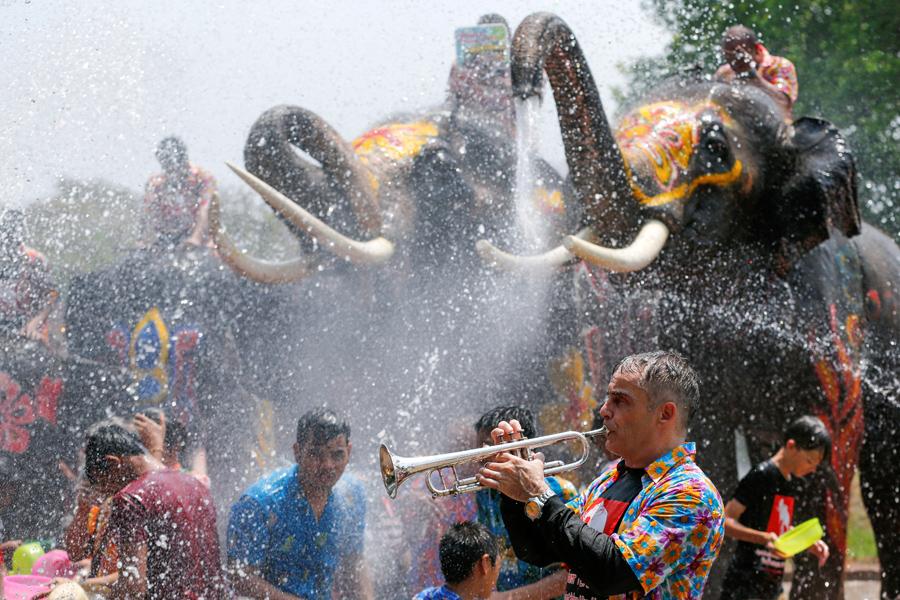 Мужчина играет на трубе в то время как народ плескается в душе от хобота слона, во время празднования фестиваля воды Сонгкран в Таиланде в провинции Аюттхая к северу от Бангкока, 11 апреля 2016 года.