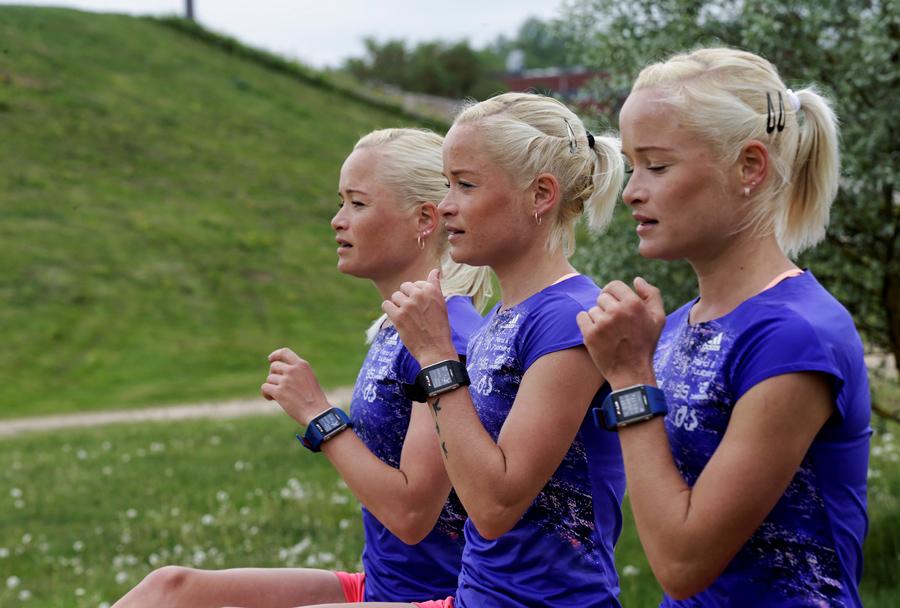 Часть олимпийской сборной Эстонии, марафонцы на тренировке в Тарту, Эстония, 26 мая 2016 года.