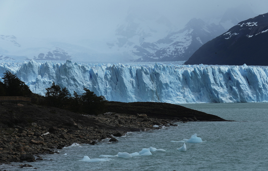 Тающий лед плавает в передней части Северной стены ледника Перито-Морено в национальном парке Лос-Гласиарес, 29 ноября 2015 в Санта-Крус, Аргентина.