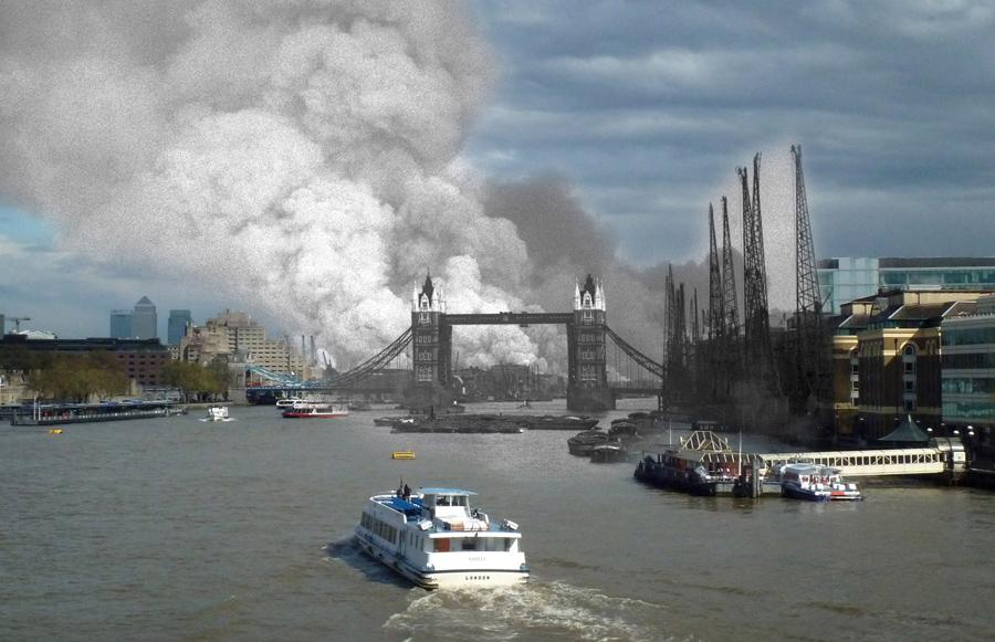 Тауэрский мост и река Темза, 7 сентября 1940 и 25 апреля 2016.