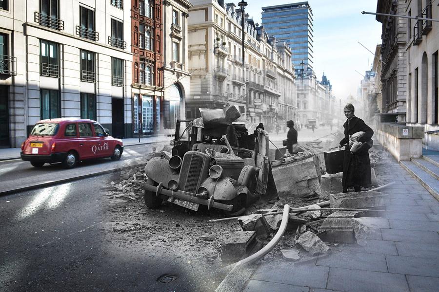 Разбитый автомобиль и Пэлл-мэлл-стрит на Пикадилли, 15 октября 1940 и 1 мая 2016.