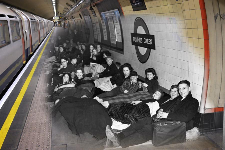 Лондонцы укрывались на платформе в Баундз Грин во время авианалета Блиц, 1940 и 1 мая 2016 года.