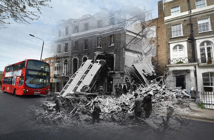 Современный автобус в 2016 году и автобус после бомбардировки Лондона 9 сентября 1940.