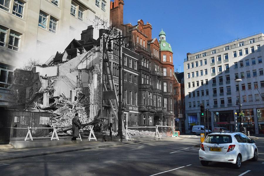 Разрушенное здание после бомбардировки на площади Беркли в Лондоне и 1 мая 2016.