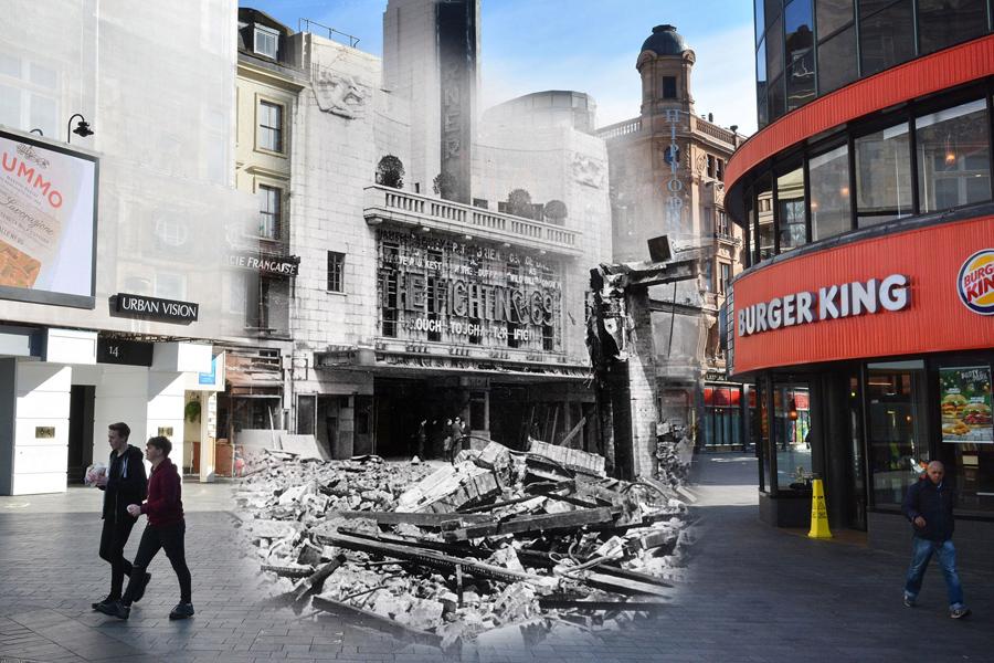 Развалины на Лестер-сквер 1940 и Бургер Кинг 1 мая 2016.
