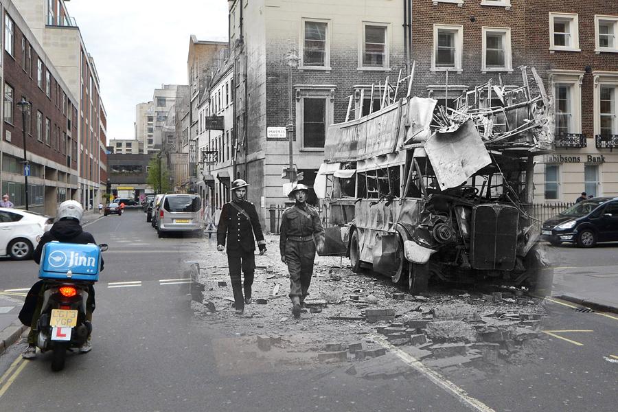 Последствия немецкого авиаудара на Портман-стрит в Лондоне, 19 сентября 1940 и в том же месте 21 апреля 2016.