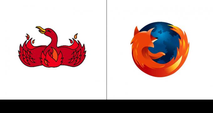 Оригинальный логотип Mozilla изображал феникса и был разработан в 2002 году. Позже название было изменено на Fifefox с сохранением огненных элементов.