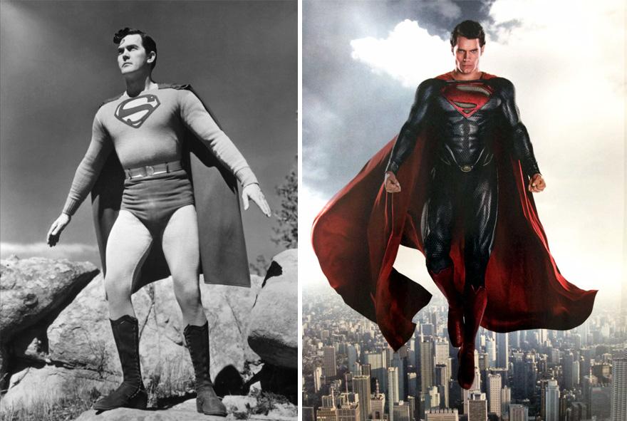 Супермен в 1948 и 2016 годах