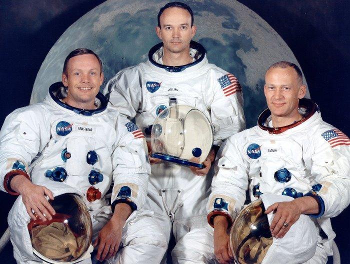 "Экипаж американского космического корабля ""Аполлон-11"": Нил Армстронг, Майкл Коллинз и Эдвин Олдрин"
