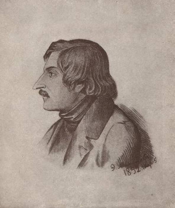 Н. В. Гоголь. Литография Э. Дмитриева-Мамонова, 1840-е