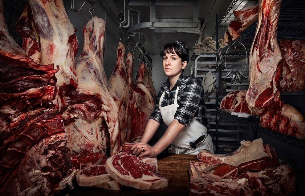 Хизер Меролд Томасон мясник и владелец компании по доставке мяса, Филадельфия, Пенсильвания.