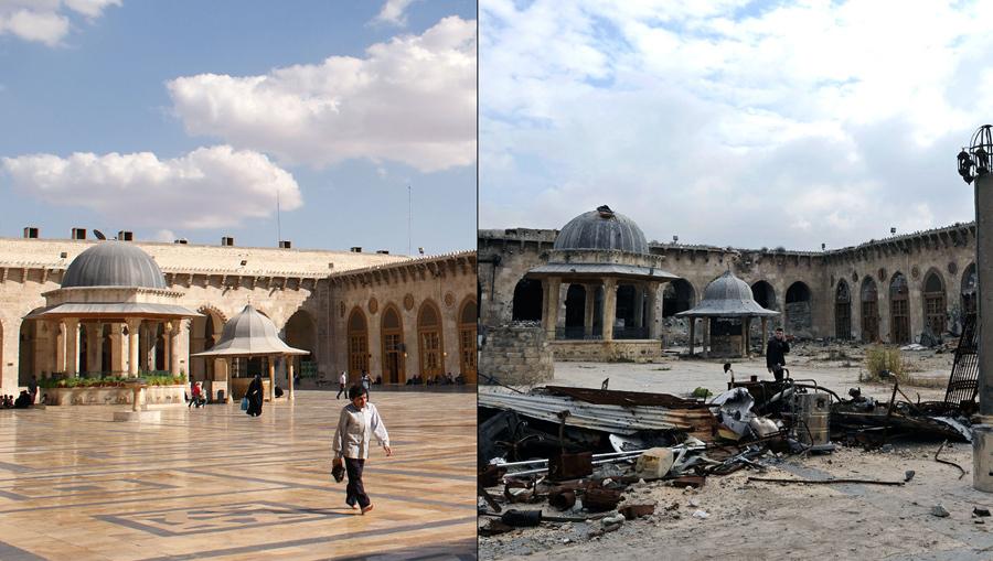 Великая мечеть Алеппо или мечеть Омейядов Алеппо, до повреждения фото слева (6 октября 2010 года) и после повреждения фото справа (17 декабря 2016 года) во время сирийской гражданской войны.