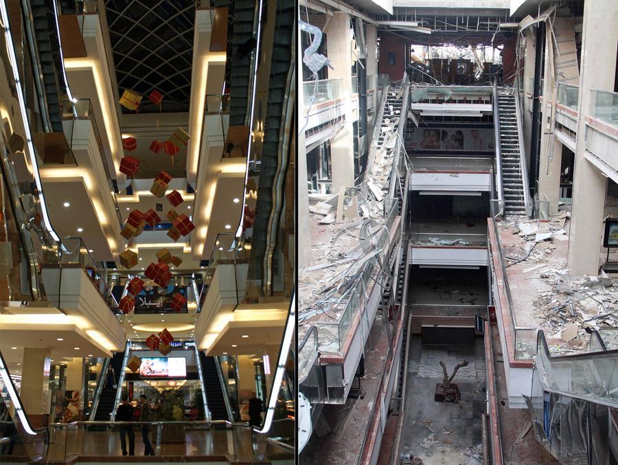 Shahba Mall, один из крупнейших торговых центров в Сирии, еще до войны, 12 декабря 2009 года (слева) и после того, как он был разрушен (справа) 16 октября 2014 г.