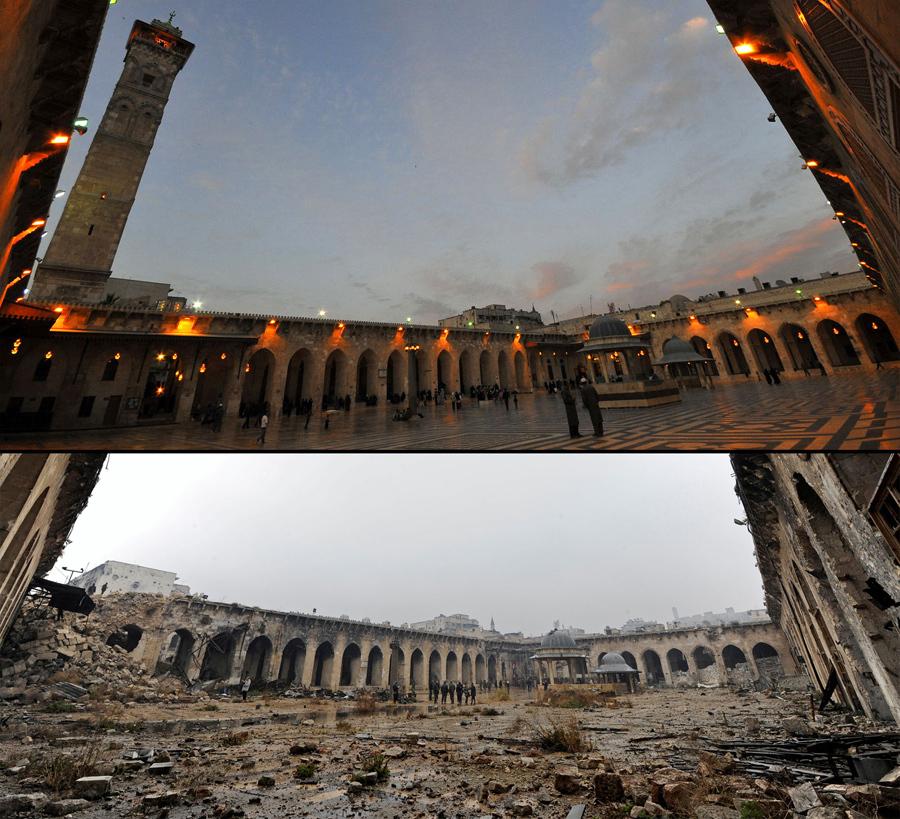 Мечеть Омейядов в Алеппо, до войны, 12 марта 2009 (вверху) и после разрушения, 13 декабря 2016 года (внизу).